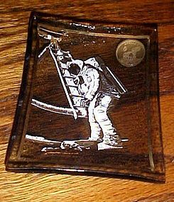 1969 first Lunar landing glass commemorative dish Neil Armstrong