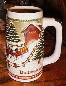 Budweiser Clydesdales beer mug stein snowy winter and covered bridge