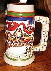 Budweiser Grants Farm  Christmas beer mug stein 1998