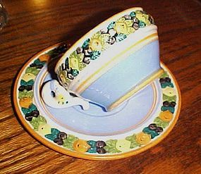 Hand painted Della Robbia majoloca pottery fruits cup and saucer Italy