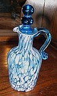 Blue spatter glass cruet and stopper by Rainbow glass