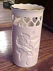Lenox Ivory Pierced Heart Vase with Rose Design, USA