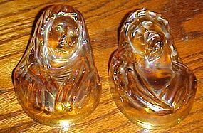 Marigold carnival glass wall plaqes Mary and Jesus
