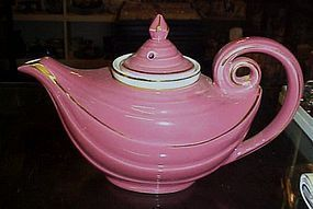 Vintage Hall China rose pink teapot with strainer