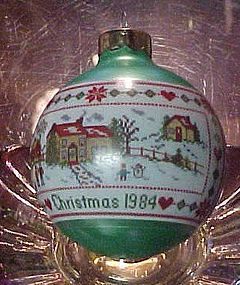 Hallmark Christmas 1984 glass ball ornament Needlepoint look