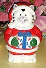 Christmas Kitty Claus with gift cookie jar Christmas