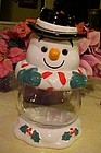 Large ceramic snowman cookie jar with glass tummy