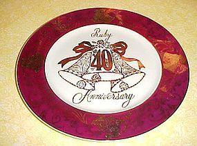 Vintage Ruby 40th Annivarsary plate by Norcrest  AT-508 BEAUTIFUL