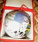 Reverse painted glass Christmas ornament Dalmations and puppies