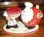 Home Interiors Cinnamon and Sugar shakers set Santa Claus and Baker