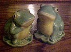 Adorable frogs on lily pads salt and pepper shakers