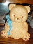 Teddy bear cookie jar with blue polka dot bow