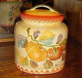 Amazing hand painted Italy large oval cookie jar with pumpkins signed