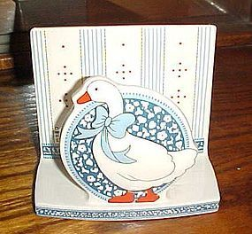 B&D Blue Ribbon Goose geese ceramic napkin holder
