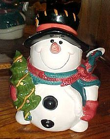 Adorable smiling Snowman with tree cookie jar by Giftco