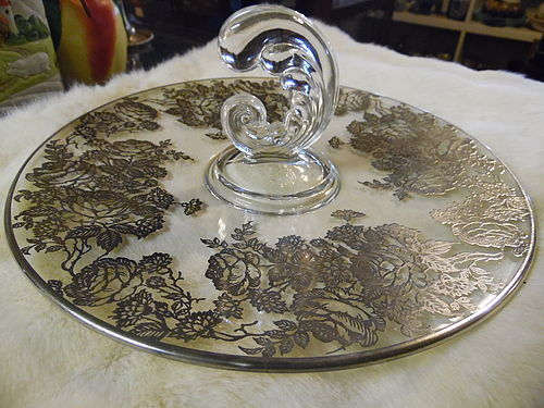 Fostoria Plume handled 11.5 server roses silver overlay decoration