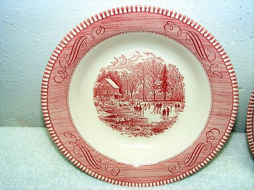 "Currier and Ives ""Early Winter""  pink red rimmed soup bowl Royal China"