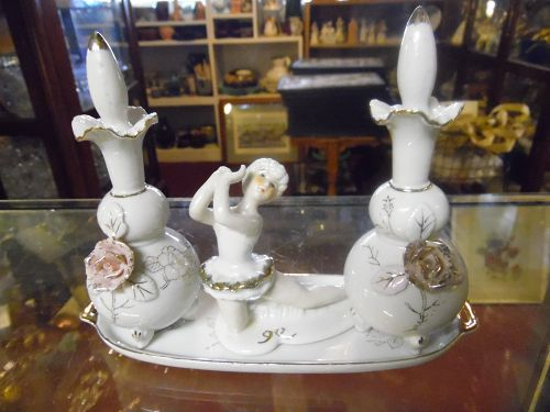 Lovely vintage Japan perfume bottle dresser set with ballerina & roses