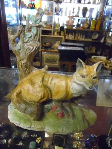 Hand painted ceramic red fox figurine