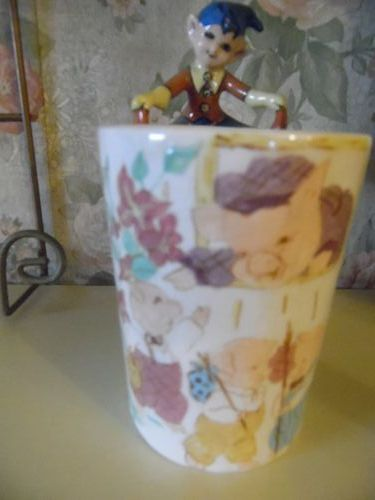 Vintage personalized Mug for ALAN hand painted pigs with Pixie handle