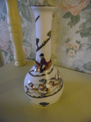 Crown Staffordshire Hunting scene bud vase