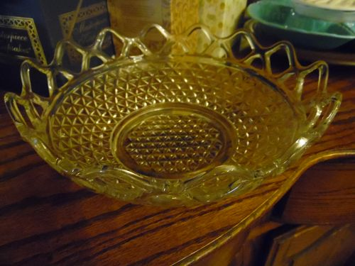 """Imperial  Belmont diamond bowl with crochet open lace edge 10.25"""""""
