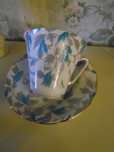 Royal Grafton England Ashley Blue cup and saucer set