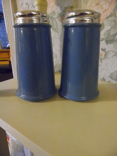 "Large china delphite blue salt and pepper shakers 5 3/4"" tall WOW"