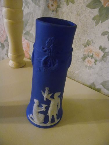 Vintage Jasperware blue and white Wedgewood  bud vase Germany