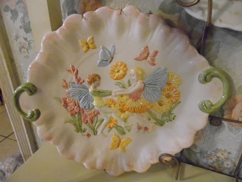 Dancing fairies, flowers and butterflies relief mold ceramic platter