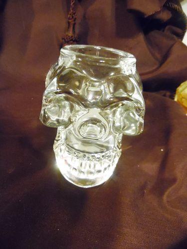 Clear Crystal Skull Glass Candle Holder Votive Figurine