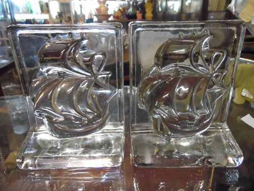 New Martinsville Viking sailing ships crystal bookends