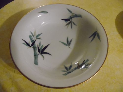 "Noritake China #5490 Bamboo 7.5"" COUPE SOUP BOWL Black Green Gold Trim"
