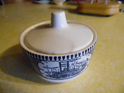 Royal China Blue Currier and Ives covered sugar bowl