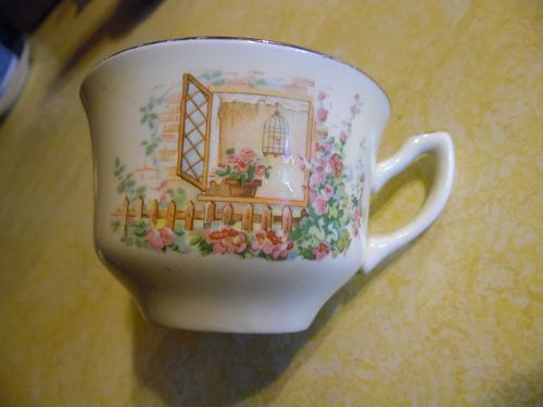 W.S. George Breakfast Nook pattern canarytone cup