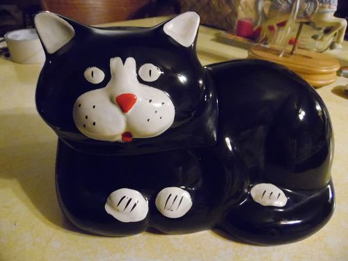 VIntage Black and white kitty cat cookie jar NAC 1985