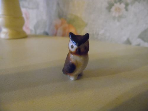 Miniature bone china owl figurine