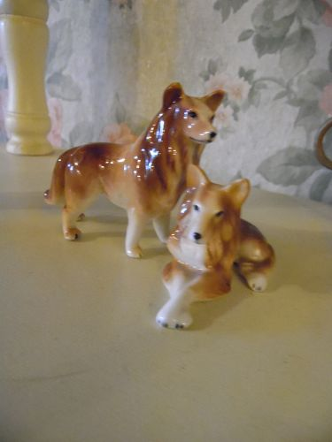 Bone China Miniature Collie dog figurines