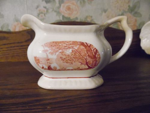 Rare Carot creamer by Salem China Company Red transferware