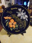 Vintage black metal souvenir tray plate Hawaiian Islands