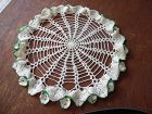 "Vintage 12"" round hand crocheted doily white with ruffle & green trim"