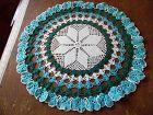 Lovely vintage hand crochet pansies round doily turquoise white teal