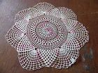 Vintage hand crochet cream and pink varigated round doily 13""