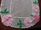 Vintage crochet dresser scarf with applique crochet flowers