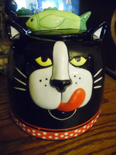 Large Black kitty cat head cookie jar by Carol Eldridge Red polka dots