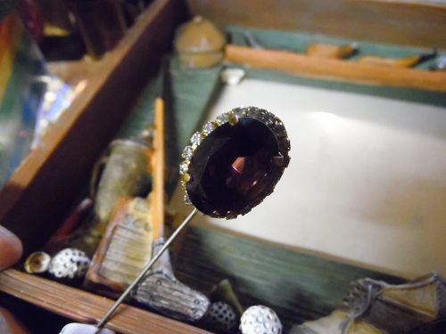 Vintage Miriam Haskell amethyst stick pin