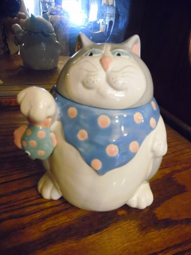 Fitz and Floyd Cat holding fish canister cookie jar 1987