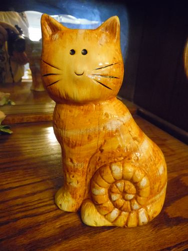 "Vintage  8"" ceramic tabby cat kitty figurine"