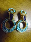 Vintage Swoboda turquoise and amethyst  dangle clip earrings