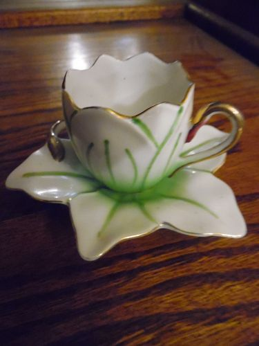 Vintage Ucagco demitasse water lily shape cup and saucer